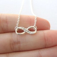 Dainty Diamond Infinity Necklace - Infinite love, Forever love, and Friendship Pendant Necklace