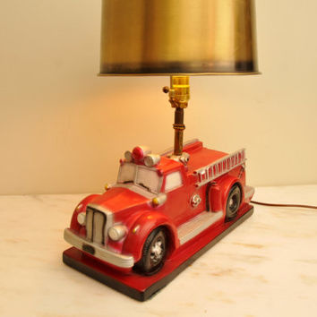Vintage Chalkware Firetruck Chalk Table Lamp 1980s