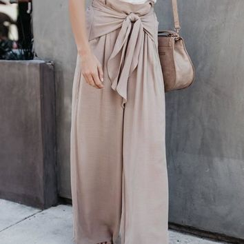 Khaki Lace-up High Waisted Office Worker/Daily Casual Wide Leg Long Pants