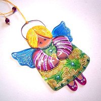 Handmade ANGEL GIVING HAPPINESS glass fusing techniques newborn gift lovers mothers guardian amulet talisman
