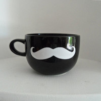 Black Mustache Mug with a White Mustache - Fathers of the Wedding Party - Coffee or Tea Mug