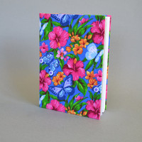 Writing Journal /  Handmade Sketchbook / Handmade Journal / Unique Journal /  Notebook /  Diary /  A5. 8 x 6 inch from cotton Flowers