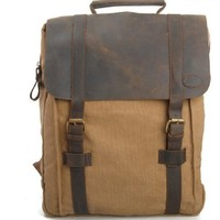 Canvas Genuine Leather Travel School Bookbag Camping Backpack Rucksack Computer Laptop Bag