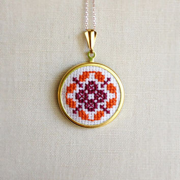Cross Stitch Necklace Orange Purple Design Flower Pin or Pendant Folk