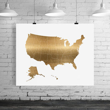 USA map gold print, USA map art print, United states of America Printable Wall Art, USA digital poster print, ArtFilesVicky instant download