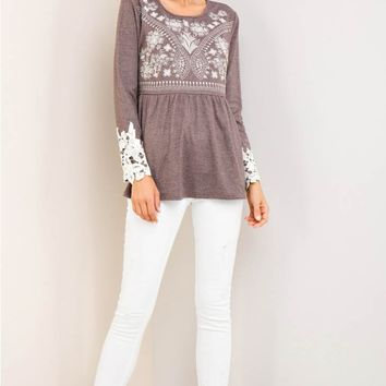 Embroidered Peplum Top with Crochet Cuff
