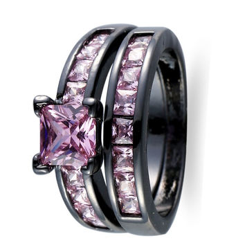 Fine Jewelry High Quality Rings Purple Amethyst AAA Zircon 14KT Black Gold Filled Ring For Women Lady's Size 6/7/8/9/10