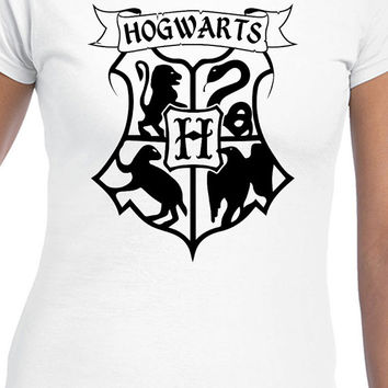 Harry Potter Inspired Hogwarts Black Logo T-Shirt of Gryffindor, Slytherin, Hufflepuff, and Ravenclaw
