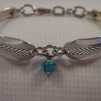 A SMALL Wheat Pattern Spoon Bracelet With Turquoise Bead Antique Spoon and Fork Jewelry b70