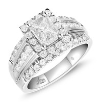 Lovecuts 14K White Gold 1 1/2 Ct.Tw. Diamond Engagement Ring