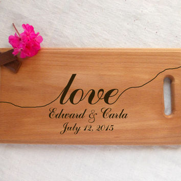 Personalized cutting board, Wedding cutting board, Handmade Engraved, Engagement gift, Anniversary gift, Birthday Gift, Gift for couple