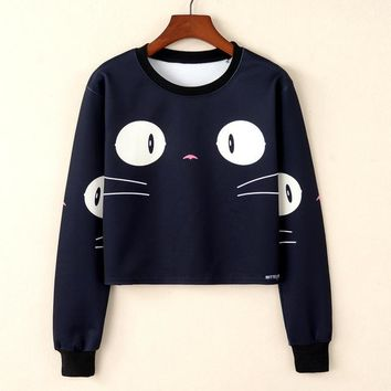 Women Cute Short Sweatshirt Floral Anime Printed Woman Harajuku Moletom Feminino Sweatshirt Kawaii Casual Female Clothing