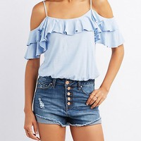 Slub Knit Ruffle-Trim Cold Shoulder Top