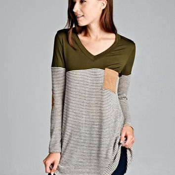 Olive Knit Top with Elbow Patch