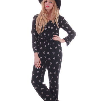 90s Daisy Print Jumpsuit Onsie Black and White Vintage Pantsuit Hipster Boho Chic Womens Size Medium