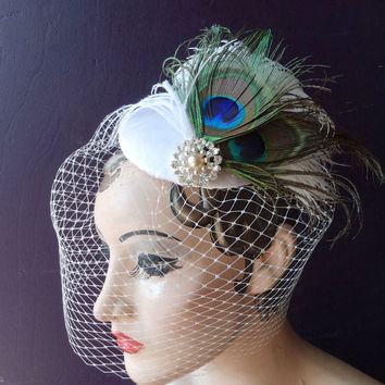 Bridal Hat, Peacock Feather Fascinator, Ivory Birdcage Veil, Pearl Wedding Veil, Blusher Veil, Unique Bridal Veil, Victorian Wedding Veil
