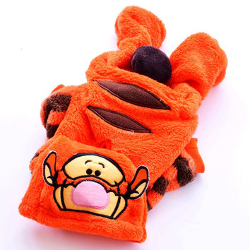 New Clothing For Dogs Orange Flannel Soft Winter Warm Tiger Jumpsuit For Pets Puppy Small Animals Pitbull Dachshund PT01