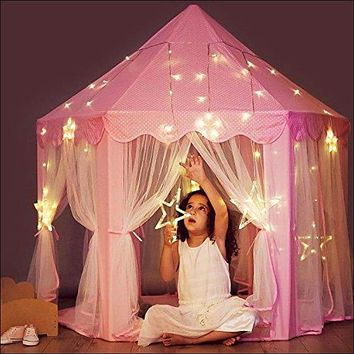 Princess Castle Tent with Large Star Lights String, Durable Girls Play Tent for Indoor and Outdoor Games