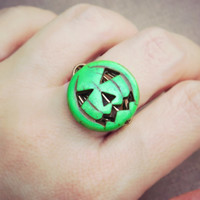 Pumpkin Ring, Green Pumpkin Ring, Green Ring. Halloween Ring, Green Pumpkin, Pumpkin Sipce, Tribal Rings, Size 7.5, Jewelry Kids Rustic Ring