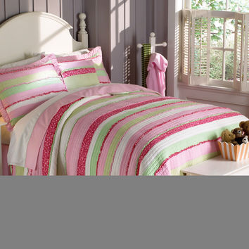 Annas Ruffle Pink Twin Quilt with Pillow Sham