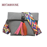 Miyahouse Women Scrub Leather Design Crossbody Bag Girls With Tassel Colorful Strap Shoulder Bag Female Small Flap Handbag