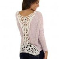 Pink Top With Ivory Crochet Back