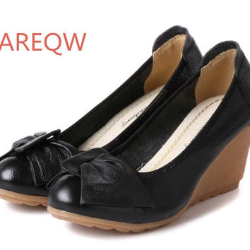 2017 New Fashion High heels Women Pumps Genuine Leather Wedge Shoes Woman Single Casual Shoes