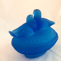 Blue Glass Birds on Nest Dish, Westmoreland Love Birds, Satin Glass, Bird Trinket Dish with Lid