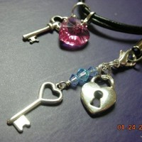 Key to my Heart Necklace and Cellphone charm by StarBurstJewels