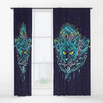 Cat Mandala Window Curtains by printapix