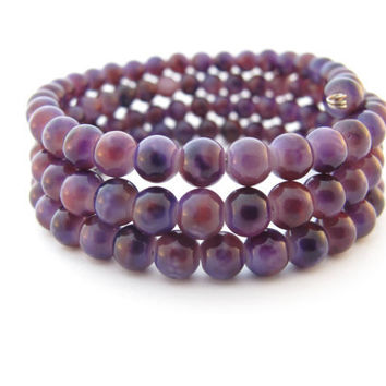 Purple Beaded Wrap Bracelet, Memory Wire