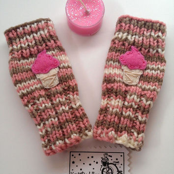 Toddlers Fingerless Gloves Ice Cream Cone Neapolitan Small Cute Kids