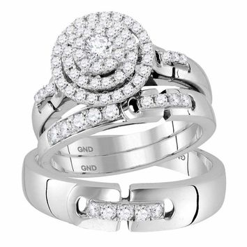 14kt White Gold His & Hers Round Diamond Cluster Matching Bridal Wedding Ring Band Set 1.00 Cttw - FREE Shipping (US/CAN)