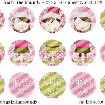 Editable Elves Christmas Ornament Set - 1 inch Circle Bottle Cap Image - 4x6 and 8.5x11 Digital Collage Sheet (No. BC178) - Instant Download
