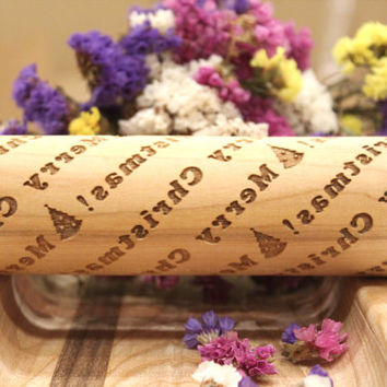 Engraved Rolling Pin, Embossing Rolling Pin, Merry Christmas Gift, Christmas pattern roller, Embossed Dough Roller, Ash, Maple