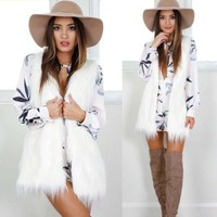 """Sweet Dreams"" open front cardigan faux fur vest coat"