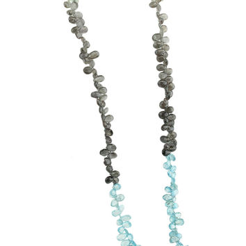 Aquamarine and Smoky Quartz Briolette Beaded Necklace