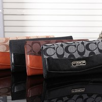 """Coach"" Women Fashion Stitching Long Section Multi-card Bit Purse Button Three Fold Wallet Handbag"