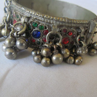 Vintage Gypsy Hippie Bellydance Hinged Bangle Bracelet Kuchi India Jewelry Silver Hippy Bells Dangle Glass Beads Rajasthan silver antique