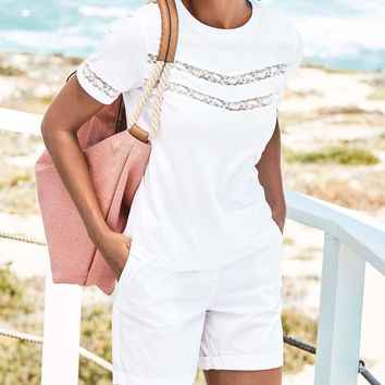 Buy White Short Sleeve Lace Tee from Next USA