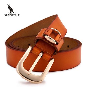 women's brand new retro casual wild Ms.real Leather Belt Buckle 100% pure leather belt Women jeans belts