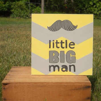 Little Big Man, Hand painted Nursery decor, Yellow and gray, Gray and yellow, Mustache, Mustache nursery art, Mustache art,