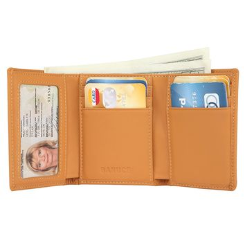 Banuce Women's Full Grains Genuine Leather Slim Small Item Trifold Wallet