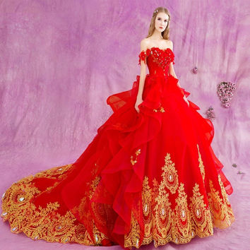 Long 2016 Gothic Red Ball Gown Princess Wedding Dresses Gold Lace Luxury Crystal Off Shoulder Bridal Bride Dress Wedding Gowns