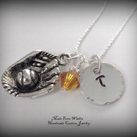 Softball Charm Necklace with Initial Charm and Birthstone- Softball Necklace- Children's Jewelry