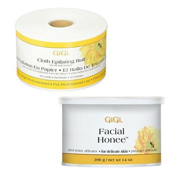 GiGi Cloth Epilating Roll 50 yards + Facial Honee Wax 14 oz