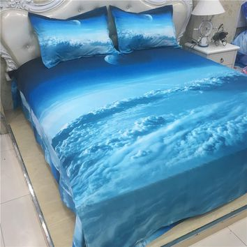 XK-014 Beautiful clouds bedding set 3pcs twin size kids single bed 4pcs double duvet covers 2 persons