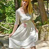 Lacen Ivory Wedding Dress / Short / Vintage Gown - Handmade Gown / Free Shipping