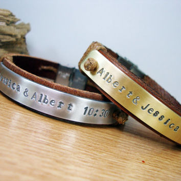 FREE SHIPPING - Couple Bracelet.Men Personalized Bracelet,Hand Stamped Bracelet,Men's Leather Bracelet, Genuine Leather and Aluminium Plate.