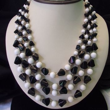 Antique Japan Vintage Black & White Glass Beaded 4 Strand Designer Collar Necklace